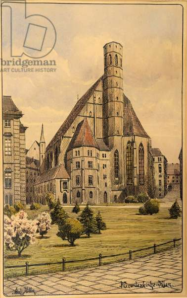 Minoritenkirche, Vienna, by Hitler, Adolf (1889-1945). Watercolour on paper, ca 1911-1912. Private Collection