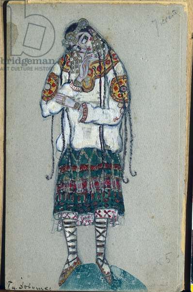 The young girl, costume design for Igor Stravinsky's ballet 'The Rite of Spring', 1912 (gouache and tempera on paper)