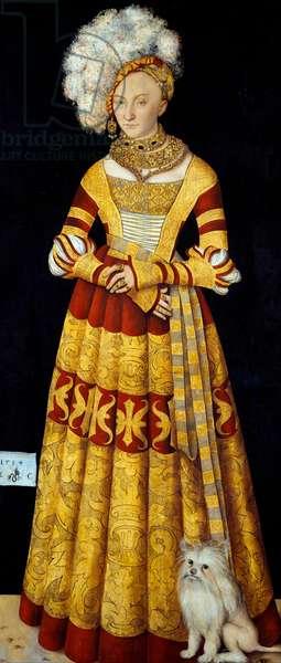 """Portrait de Catherine de Mecklenburg (Mecklembourg) (1487-1561)"""""""" Peinture de Lucas Cranach l'ancien (1472-1553) 1514 Dim. 184 x 83 cm (par panneau)   Dresden State Art Collections"""