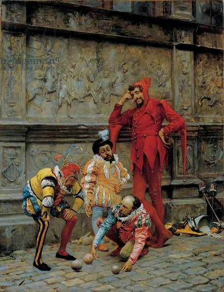 Jesters playing Cochonnet, Oil on wood by Eduardo Zamacois y Zabala - Museo de Bellas Artes de Bilbao