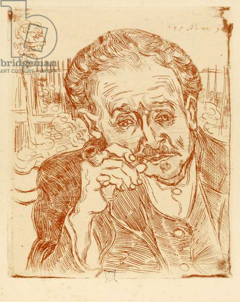 L'Homme a la pipe (Portrait of Dr. Paul Gachet, 1828-1909), by Gogh, Vincent, van (1853-1890). Etching, 1890. Dimension : 33,3x23,5 cm. Staedtische Galerie im Staedelschen Kunstinstitut, Frankfurt am Main