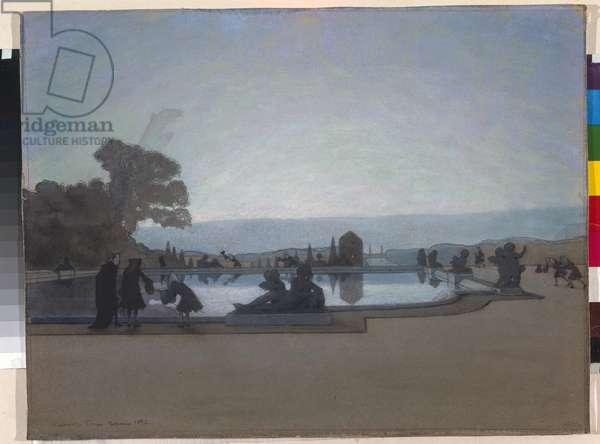 Versailles. Louis XIV is feeding fish (Gouache, 1897)