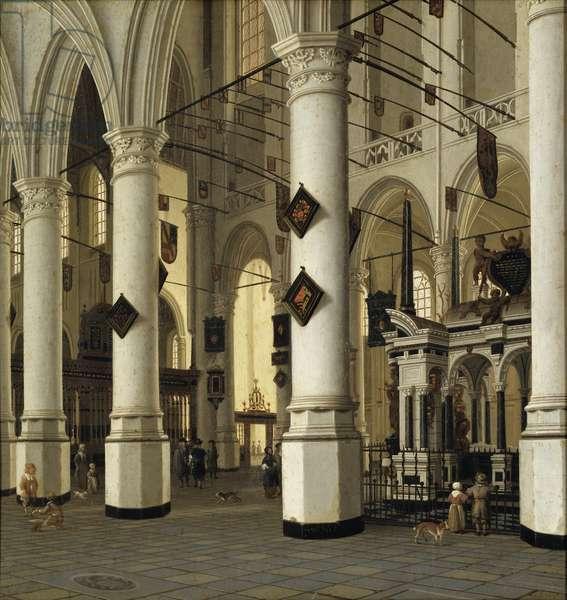Interieur de la nouvelle eglise de Delft - Interior of Nieuwe Kerk, Delft, by Vliet, Hendrick Cornelisz. van (1611-1675). Oil on wood. Dimension : 41x39 cm. Nationalmuseum Stockholm