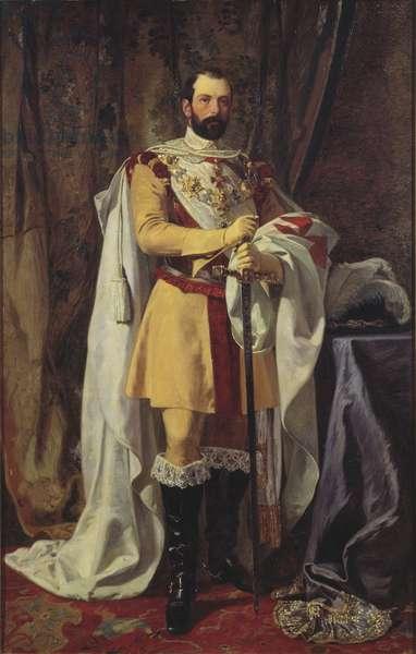 Charles XV roi de Suede - Portrait of the King Charles XV of Sweden (1826-1872), by Hockert, Johan Fredrik (1826-1866). Oil on canvas, 1861. Dimension : 230x145 cm. Nationalmuseum Stockholm