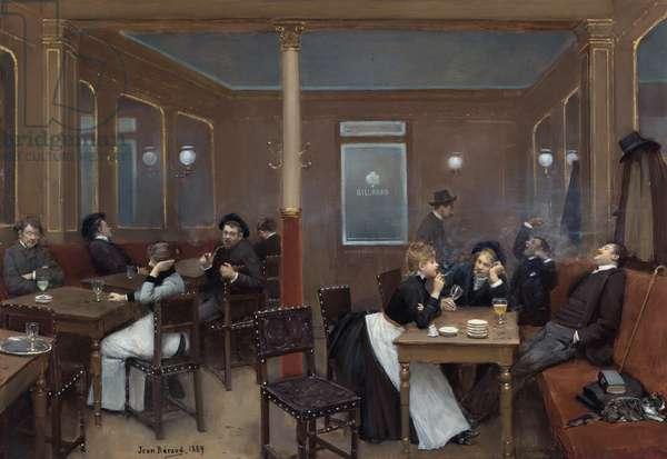 Brasserie d'etudiants - Student pub par Beraud, Jean (1849-1936). Oil on wood, size : 37,7x52,7, 1889, Private Collection