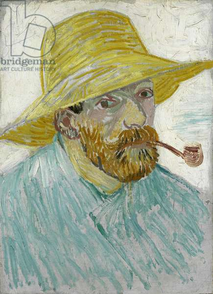 Self-Portrait with Straw Hat and Pipe par Gogh, Vincent, van (1853-1890). Oil on canvas, size : 41,9x30,1, 1887, Van Gogh Museum, Amsterdam