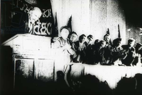 """Scene from the film """"""""October: Ten Days That Shook the World"""""""" by Sergei Eisenstein by Anonymous. Photograph, 1927-1928. Private Collection"""