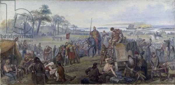 Apres la bataille de Fyrisvellir (Fyrisvall) (984-985) - After the Battle of Fyrisvellir, by Winge, Marten Eskil (1825-1896). Oil on canvas, 1880s. Dimension : 94x194 cm. Nationalmuseum Stockholm