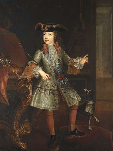 Portrait of the King Louis XV (1710-1774) as Child - Augustin-Oudart  Justinat (?-1743). Oil on canvas, 1717. Dimension : 138x104 cm. Private Collection