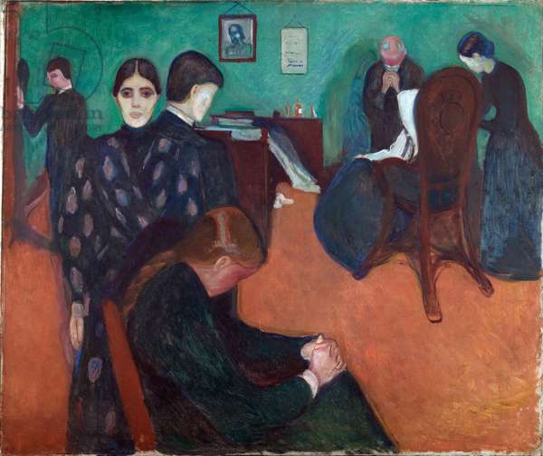 Death in the Sickroom (mort a l'infirmerie) par Munch, Edvard (1863-1944). Oil on canvas, size : 134x160, 1893, Munch Museum, Oslo