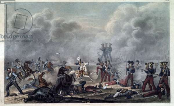 On the battlefield of Borodino (bataille de la Moskova, 1812) before the village Semenovsky - Faber du Faur, Christian Wilhelm, von (1780-1857) - 1820s - Colour lithograph - 33,2x48,9 - Private Collection