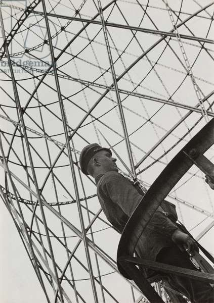 The watch by the Shukhov radio tower in Moscow, 1929 (b/w photo)