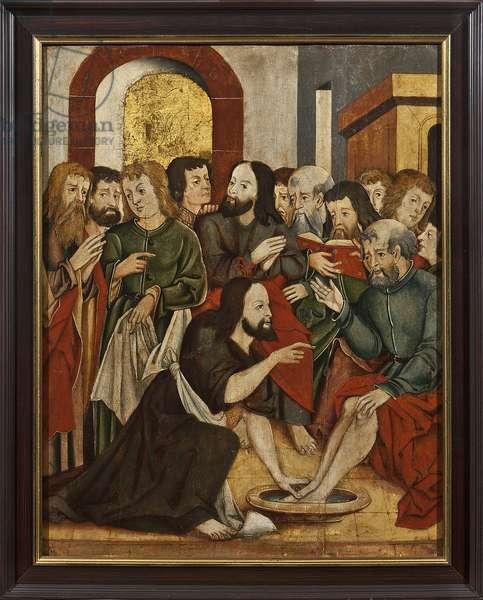Le Christ lavant les pieds de Saint Pierre - Christ Washing Peter's Feet - Anonymous. Oil on wood, 16th century. Dimension : 62x50 cm State Museum of Religious History, St Petersburg