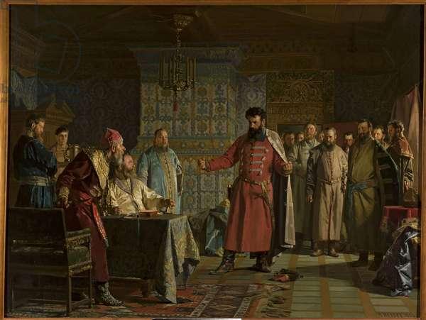 La querelle de Zakhary Petrovich Lyapunov (mort apres 1612) avec le tsar Vassili IV Chouiski (1552-1612) au Kremlin - Zakhary Lyapunov's quarrel with the Tsar Vasili Shuisky at Kremlin, by Nevrev, Nikolai Vasilyevich (1830-1904). Oil on canvas, 1886. Dimension : 126x166 cm. Muzeum Narodowe, Warsaw