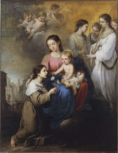 """""La vierge a l'enfant avec sainte rose de Viterbe"""" (The Virgin and Child with Saint Rose of Viterbo) Peinture de Bartolome Esteban murillo (1617-1682) vers 1670 - Oil on canvas - 190x147 - Thyssen-Bornemisza Collections"