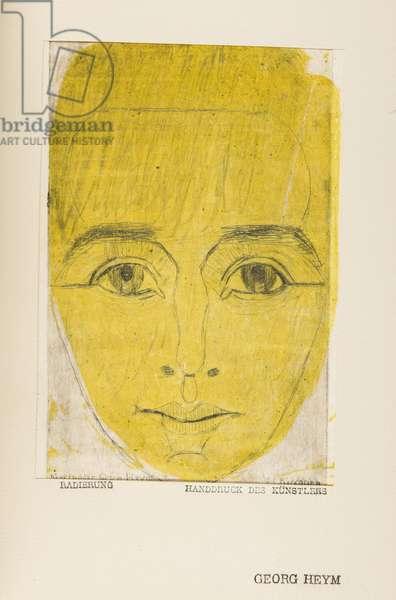 Umbra Vitae (culture de la vie, portrait de Georg Heym, 1887-1912) - Umbra Vitae (Portrait of Georg Heym), by Kirchner, Ernst Ludwig (1880-1938). Etching, watercolour, c. 1920. Private Collection