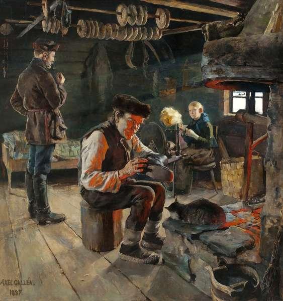La vie rustique - he Rustic Life - Akseli Gallen-Kallela (1865-1931). Oil on canvas, 1887. Dimension : 94x90 cm Private Collection