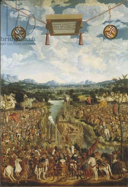 Titus Manlius Imperiosus Torquatus (4eme siecle avant JC) combat un gaulois - Manlius Torquatus Fighting a Gaul, by Refinger, Ludwig (c. 1510-1549). Oil on wood. Dimension : 160x109 cm. Nationalmuseum Stockholm