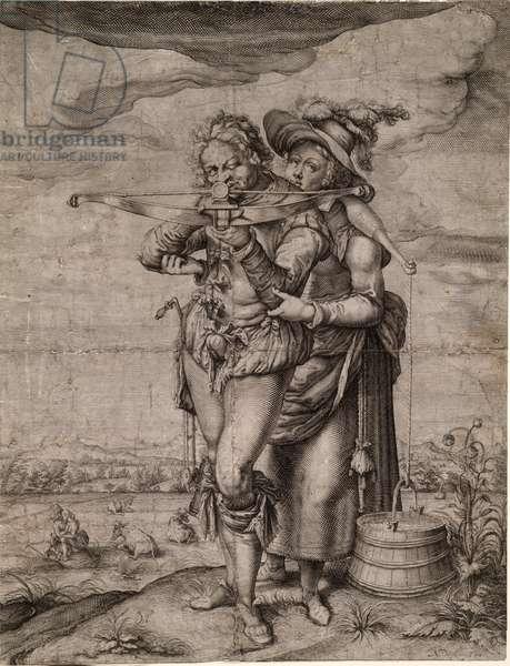 L'arbaletrier et la laitiere - The Crossbowman and the Milkmaid - Gheyn, Jacques de, the Younger (Jacob De Gheyn II, dit le Jeune) (1565-1629) - c. 1610 - Copper engraving - 39,3x30 - Private Collection