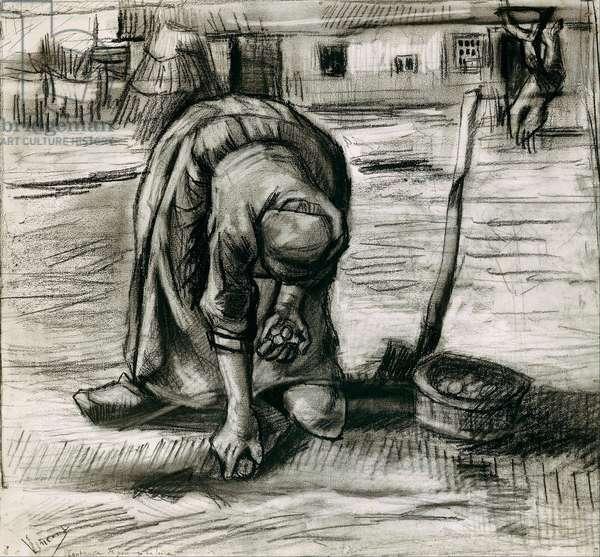 """""""""""Paysanne plantant des pommes de terre"""""""" (Peasant Woman Planting Potatoes) Dessin de Vincent van Gogh (1853-1890) 1885 Dim 41,7x45,3 cm Staedtische Galerie im Staedelschen Kunstinstitut, Frankfurt am Main"""