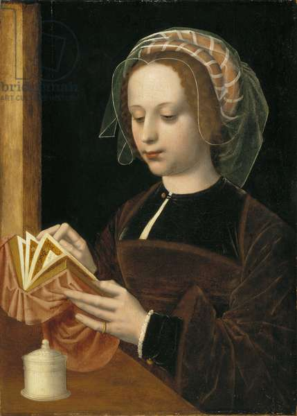 Marie Madeleine lisant - Mary Magdalene Reading, by Benson, Ambrosius (1495-1550). Oil on wood. Dimension : 49x35 cm. Nationalmuseum Stockholm