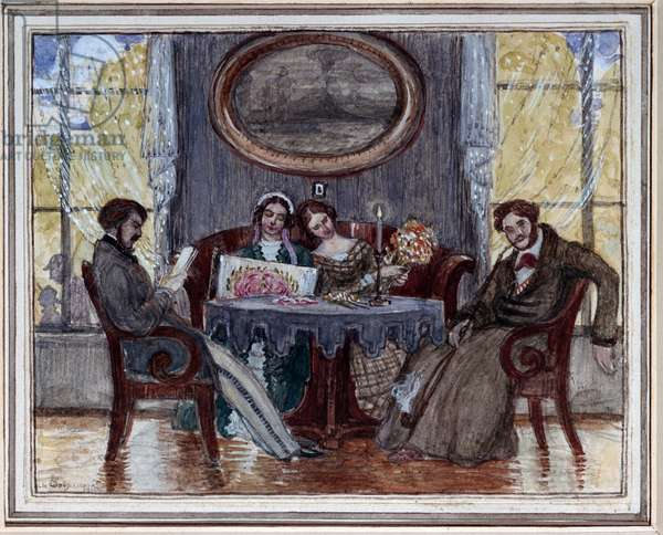 """Drawing room, sketch for the play """"A Month in the Country"""" by Ivan Turgenyev, 1919 (w/c & gouache on paper)"""