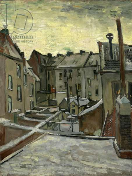 Houses Seen from the Back, Antwerp par Gogh, Vincent, van (1853-1890). Oil on canvas, size : 43,7x33,7, 1885-1886, Van Gogh Museum, Amsterdam