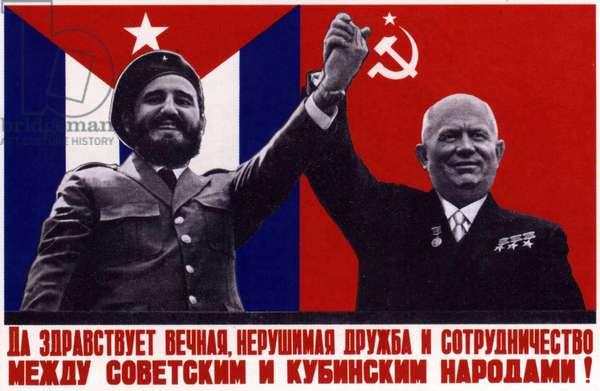 Communist Poster depicting Fidel Castro and Nikita Khrushchev, 1963 (colour litho)