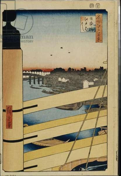 Cent vues celebres d'Edo : Nihonbashi and Edobashi Bridges (One Hundred Famous Views of Edo) - Hiroshige, Utagawa (1797-1858) - 1856-1858 - Colour woodcut - State Hermitage, St. Petersburg