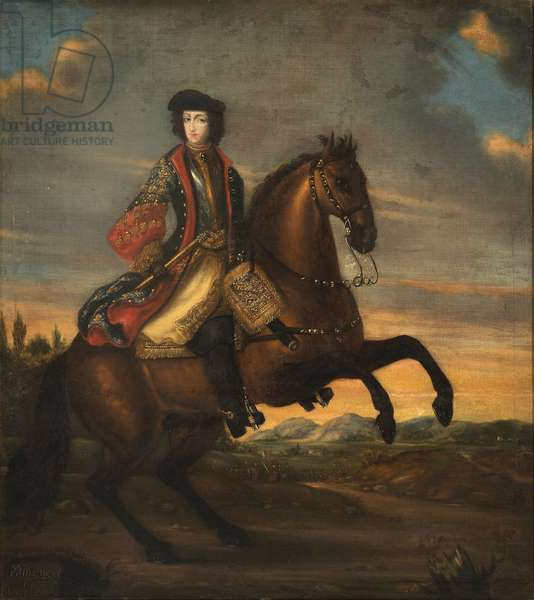 Frederic IV de Holstein Gottorp a cheval - Portrait of Frederick IV (1671-1702), Duke of Holstein-Gottorp on Horseback, Anonymous . Oil on canvas, 1689. Dimension : 128x118 cm. Nationalmuseum Stockholm