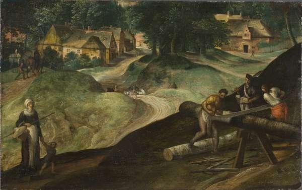 Paysage avec des hommes sciant du bois - Landscape with Men Sawing Timber, by Mostaert, Gillis (1534-1598). Oil on wood, 1570s. Dimension : 21x34 cm. Nationalmuseum Stockholm