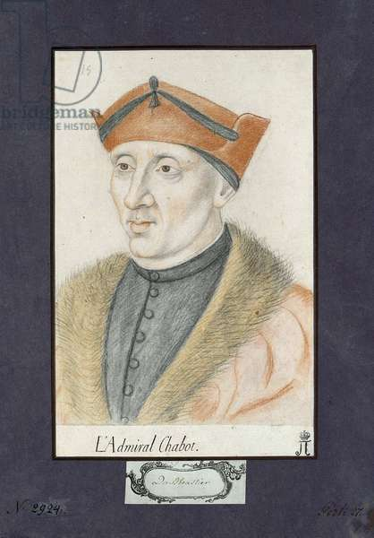 Portrait of Philippe de Chabot (1492-1543), admiral of France, Anonymous. Colour pencils on paper, size : 28x19, ca 1530, State Hermitage, St. Petersburg