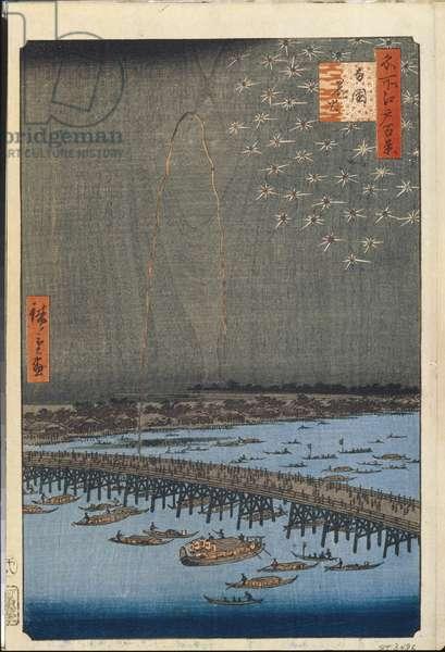 Cent vues celebres d'Edo : Fireworks by Ryogoku Bridge (One Hundred Famous Views of Edo) - Hiroshige, Utagawa (1797-1858) - 1856-1858 - Colour woodcut - State Hermitage, St. Petersburg