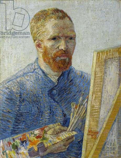 Self-portrait at the easel par Gogh, Vincent, van (1853-1890). Oil on canvas, size : 65,1x50, 1887-1888, Van Gogh Museum, Amsterdam