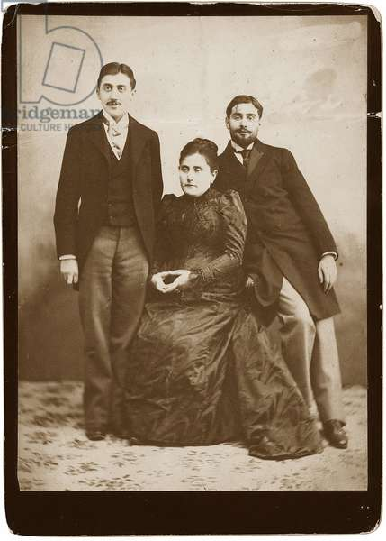 Jeanne Proust nee Weil (1849-1905) and her two sons Marcel and Robert (1873-1935), Anonymous. Silver Gelatin Photography, ca 1891, Private Collection