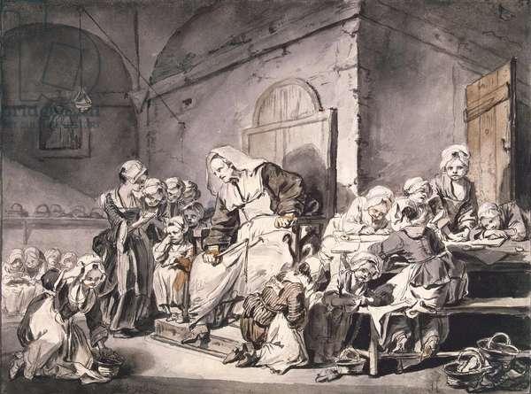 School teacher par Greuze, Jean-Baptiste (1725-1805). Pen, brush, grey and brown colour, watercolour on paper, size : 27,8x33,8, ca 1764-1765, State Hermitage, St. Petersburg