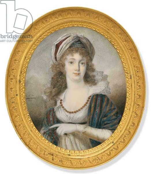 Portrait of Countess Sofia Vladimirovna Panina (1774-1844) by La Celle de Chateaubourg, Charles-Joseph Chevalier de (1758-1837). Oil on Ivory, 1797. Private Collection
