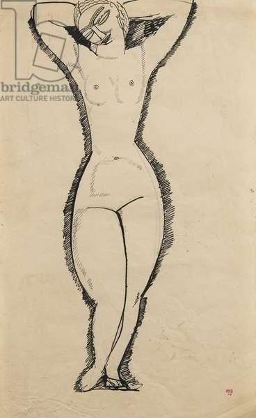 Standing Nude with Raised Arms (Anna Akhmatova, 1889-1966) - Dessin de Amedeo Modigliani (1884-1920), 1911 - Ink on paper - Private Collection