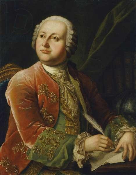 Portrait of Mikhail Lomonosov (Mikhail Vassilievitch Lomonossov) (1711-1765) par Anonymous, Second Half of the 18th cen. d'apres Georg Caspar Prenner (1720-1766) - Oil on canvas, 87x70 - State Hermitage, St. Petersburg