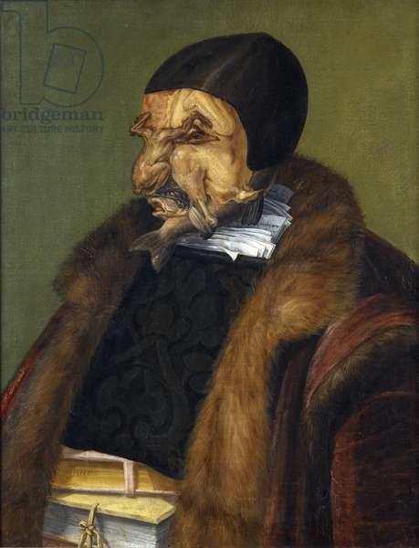 """""Le Juriste"""" Peinture de Giuseppe Arcimboldi (Arcimboldo) (1527-1593) 1566 Dim. 64x51 cm, Nationalmuseum, Stockholm"