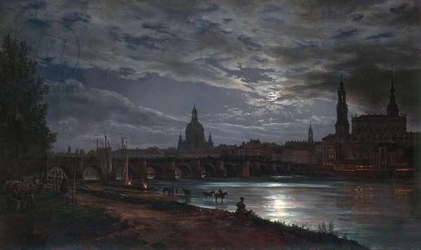 """""Vue de Dresde au clair de lune"""" (View of Dresden by Moonlight) Peinture de Johan Christian Clausen Dahl (1788-1857) 1839 - Oil on canvas Dim 78x130 cm Dresden State Art Collections Dresde"
