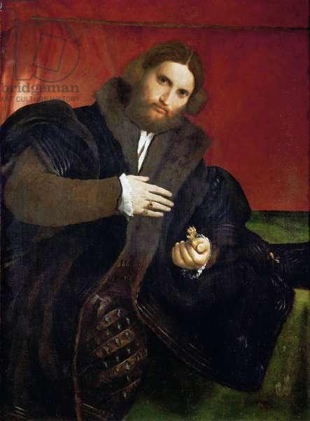 Renaissance : Portrait d'homme tenant une griffe d'or (Leonino Brembate ?)- Portrait of a Man with a golden animal claw (Leonino Brembate) par Lotto, Lorenzo (1480-1556), 1524-1525. Oil on canvas, 95,5x69,5. Art History Museum, Vienne