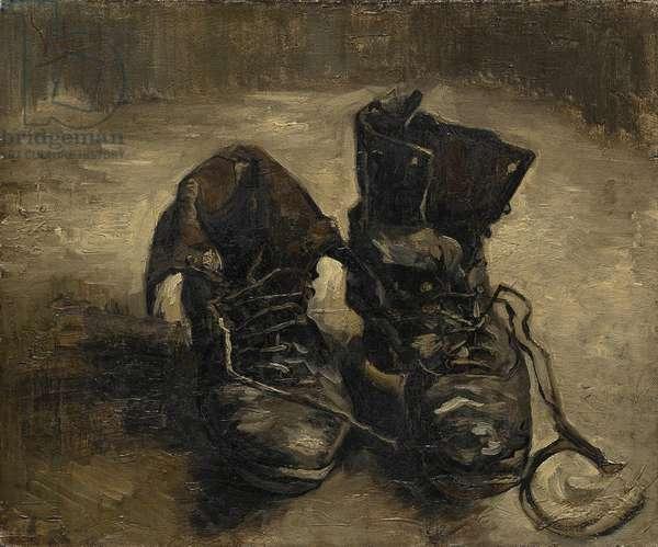 """""""""""Les bottes noires"""""""" ou """"""""Les vieux souliers"""""""" Peinture de Vincent van Gogh (1853-1890). 1886. Musee Vincent Van Gogh. Amsterdam."""