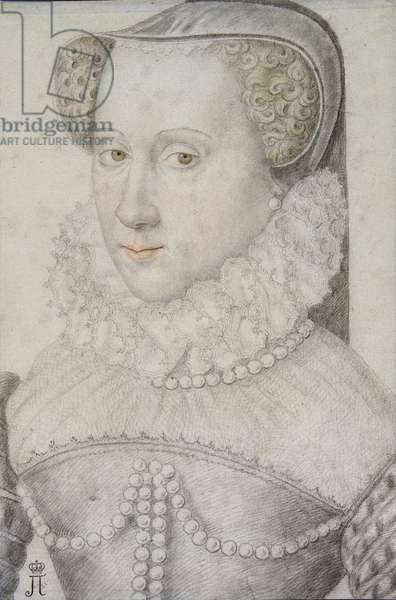 Portrait of Anna (Anne) d'Este (1531-1607), Duchess of Nemours, Anonymous. Black chalk and sanguine on paper, size : 30,6x20,9, 1570-1580, State Hermitage, St. Petersburg