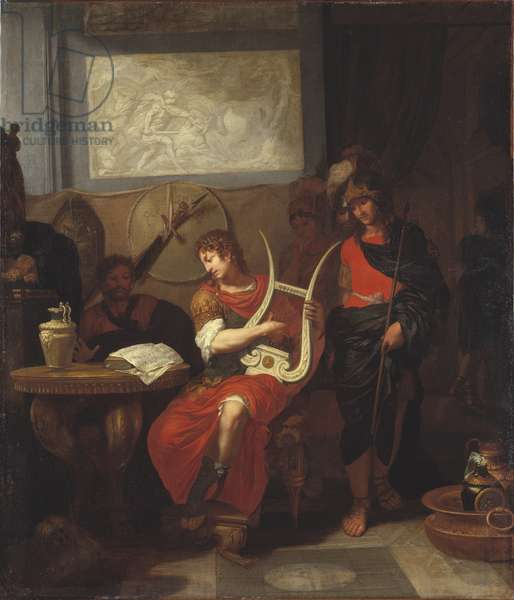 Achille jouant de la lyre devant Patrocle - Achilles Playing a Lyre before Patroclus, by Lairesse, Gerard, de (1640-1711). Oil on canvas, 1675-1680. Dimension : 100,8x85,6 cm. Nationalmuseum Stockholm