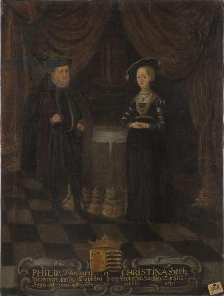 Philippe I de Hesse, dit le Magnanime et Christine de Saxe - Philip I, Landgrave of Hesse (1504-1567) and Christine of Saxony (1505-1549), Landgravine of Hesse, Anonymous . Oil on canvas. Dimension : 103x79 cm. Nationalmuseum Stockholm