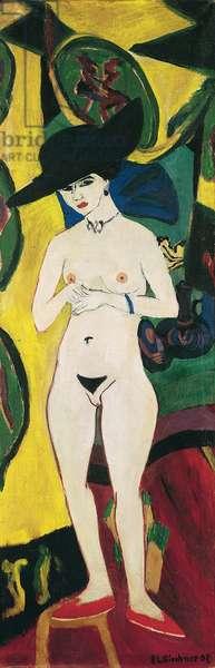 Standing Nude with Hat - Peinture de Ernst Ludwig Kirchner (1880-1938) - c. 1911 - Oil on canvas - 196x65 - Staedtische Galerie im Staedelschen Kunstinstitut, Frankfurt am Main