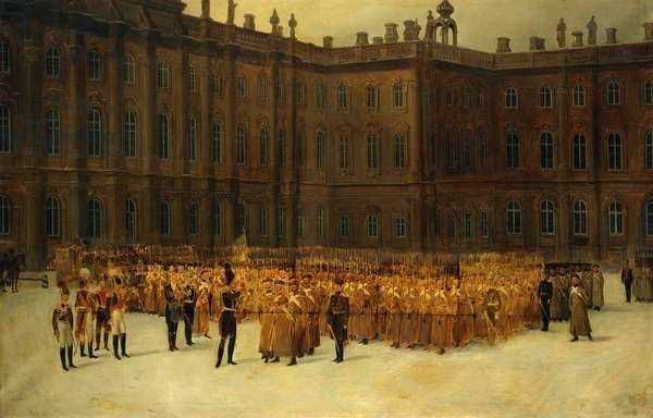 insurrection decembriste ou Insurrection decabriste (1825) - Nicholas I before the Unit Formation of the Life-Guards Field Engineer Battalion in the Court of the Winter Palace on 14 Decembe par Maxutov, Vasili Nikolayevich (1826-1886). Oil on canvas, size : 179x116,5, 1861, State Hermitage, St. Petersburg