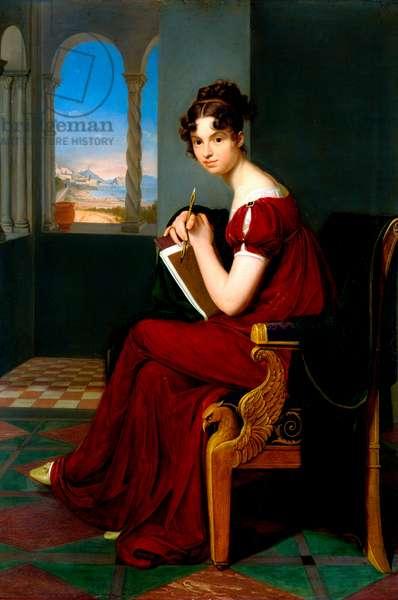 """""""""""Portrait de jeune femme tenant des outils de dessin"""""""" (Young Lady with Drawing Utensils) Peinture de Carl Christian Vogel von Vogelstein (1788-1868) 1816 Oil on canvas Dim 70x48,5 cm State Art Gallery, Dresde"""