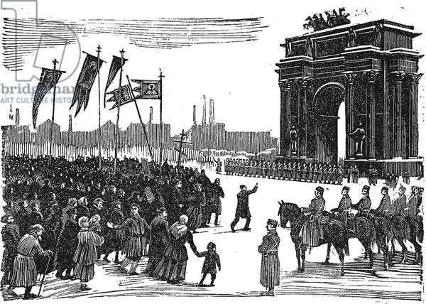 Massacre At Narva Gate in St. Petersburg (woodcut)